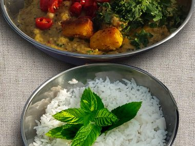 Vegetarian Thai Green Curry with Roasted Paneer