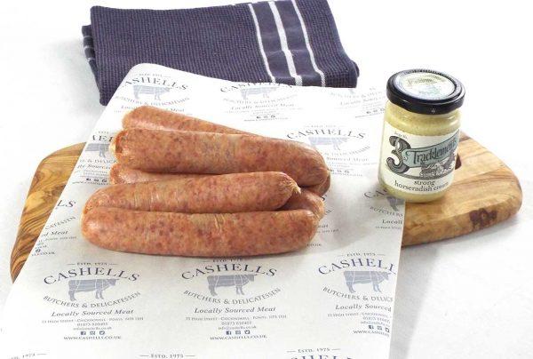 beef and horserasdish sausages