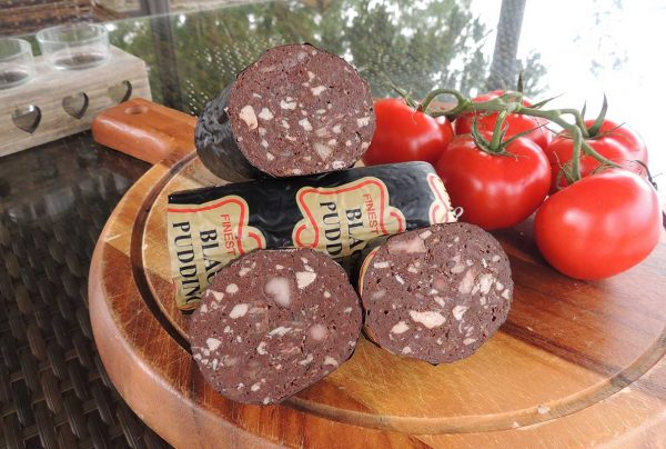 black pudding on chopping board